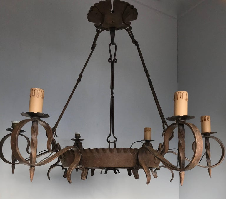 20th Century Antique Large Arts & Crafts Wrought Iron Medieval and Castle Look Chandelier For Sale