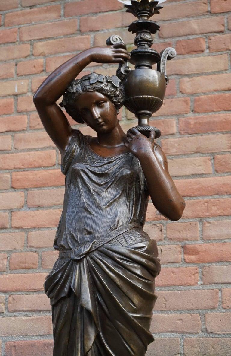 Antique Bronzed Sculpture Floor Lamp Of Dione Goddess Of