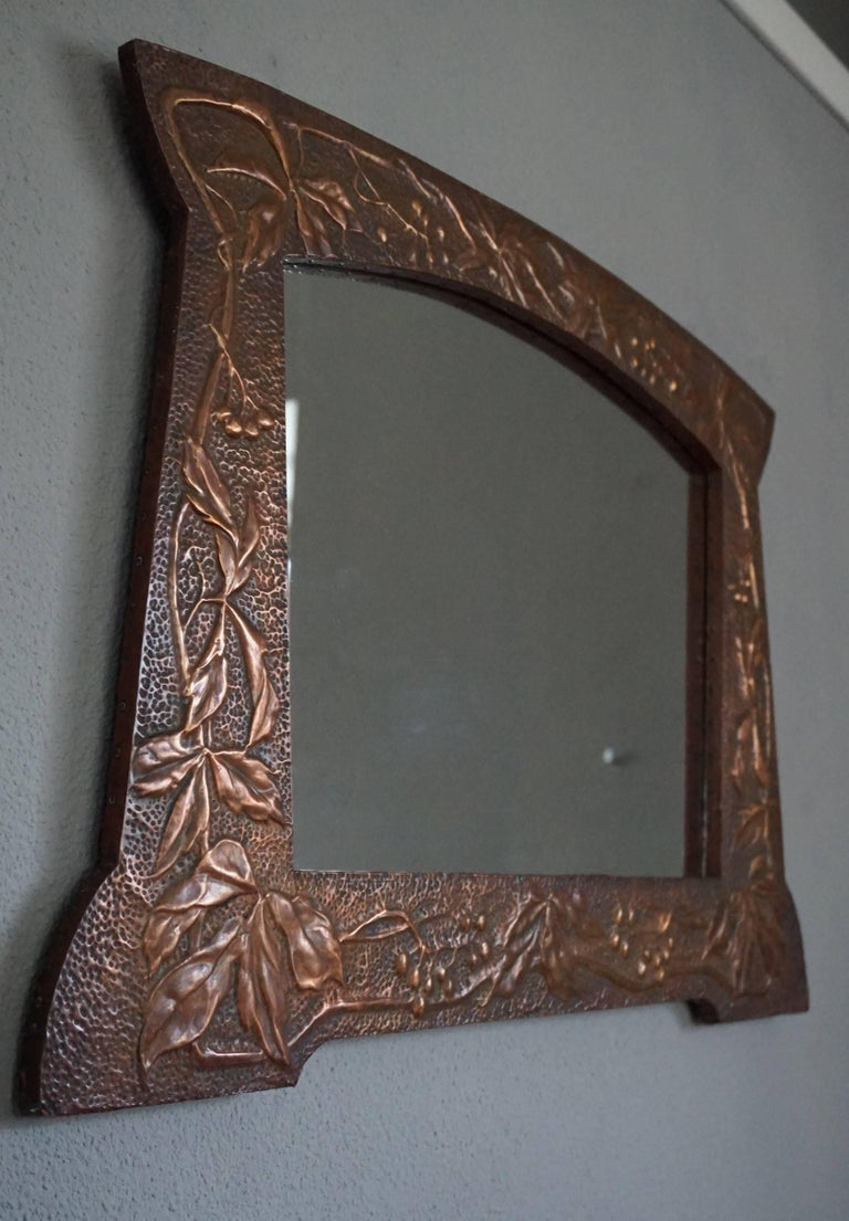 Arts and crafts hand hammered and embossed copper wall for Wooden mirror frames for crafts