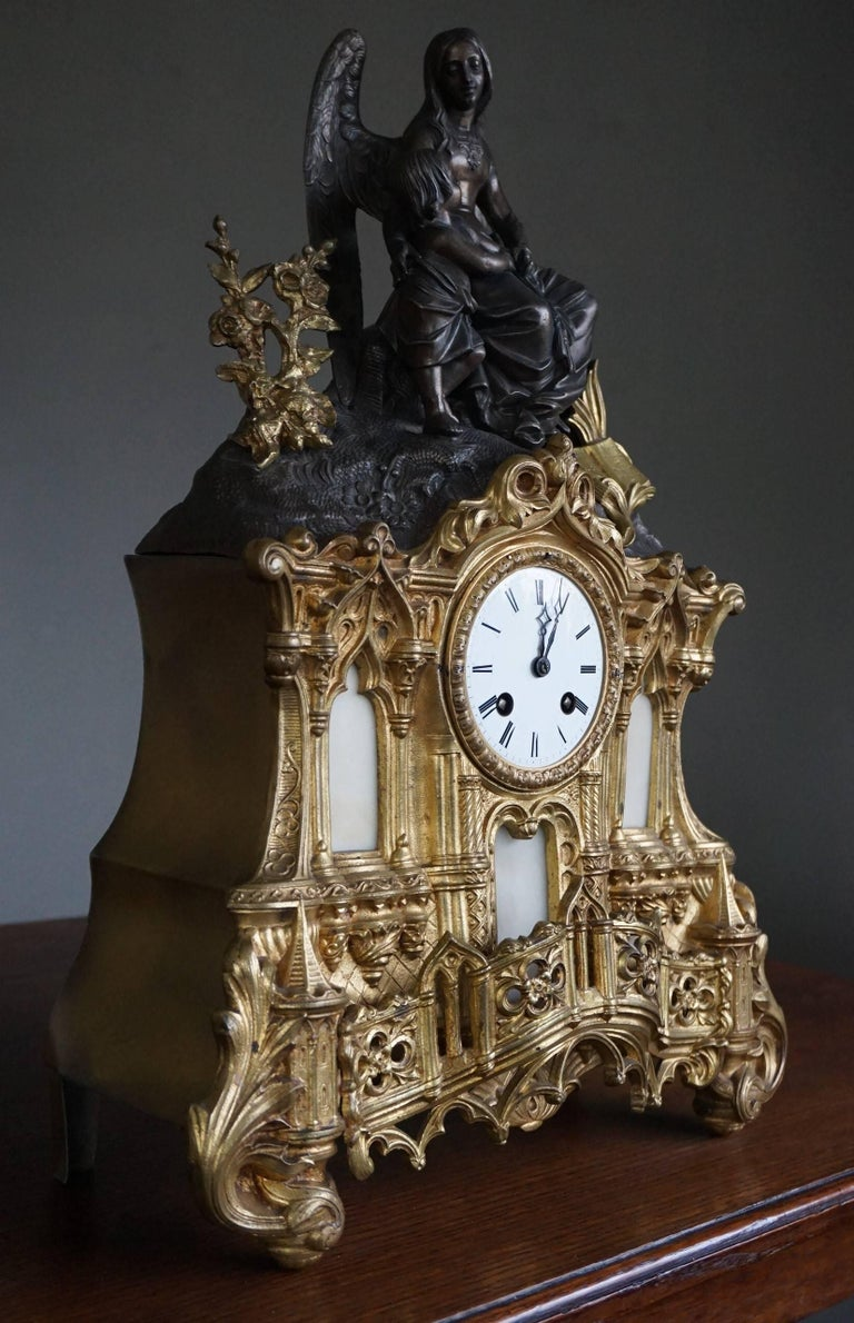 Gothic Revival Gilt Bronze Gothic Rev. Heaven & Earth Mantel Clock w. Guardian Angel Sculpture For Sale