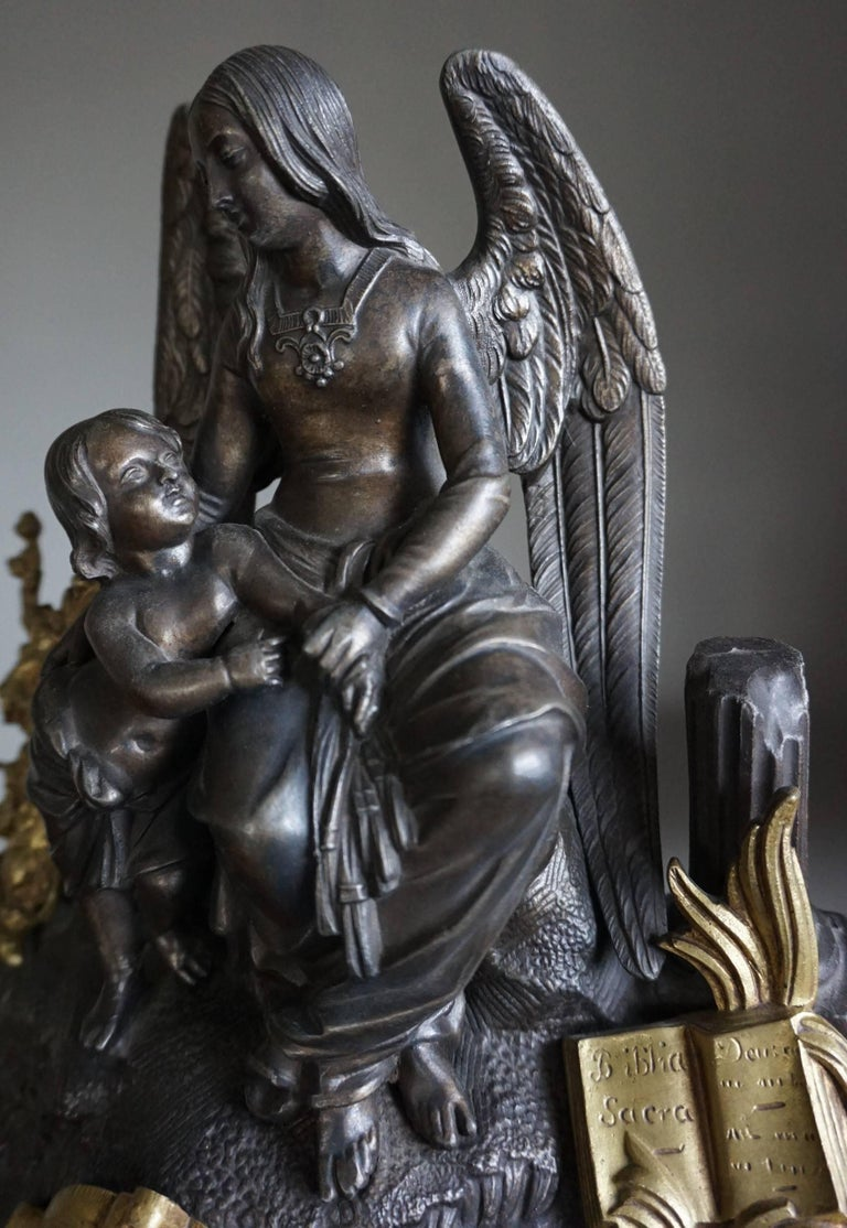 French Gilt Bronze Gothic Rev. Heaven & Earth Mantel Clock w. Guardian Angel Sculpture For Sale
