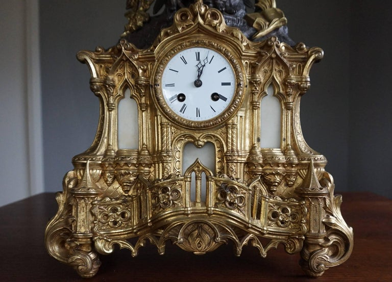 19th Century Gilt Bronze Gothic Rev. Heaven & Earth Mantel Clock w. Guardian Angel Sculpture For Sale