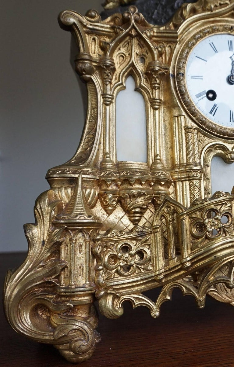 Gilt Bronze Gothic Rev. Heaven & Earth Mantel Clock w. Guardian Angel Sculpture For Sale 2