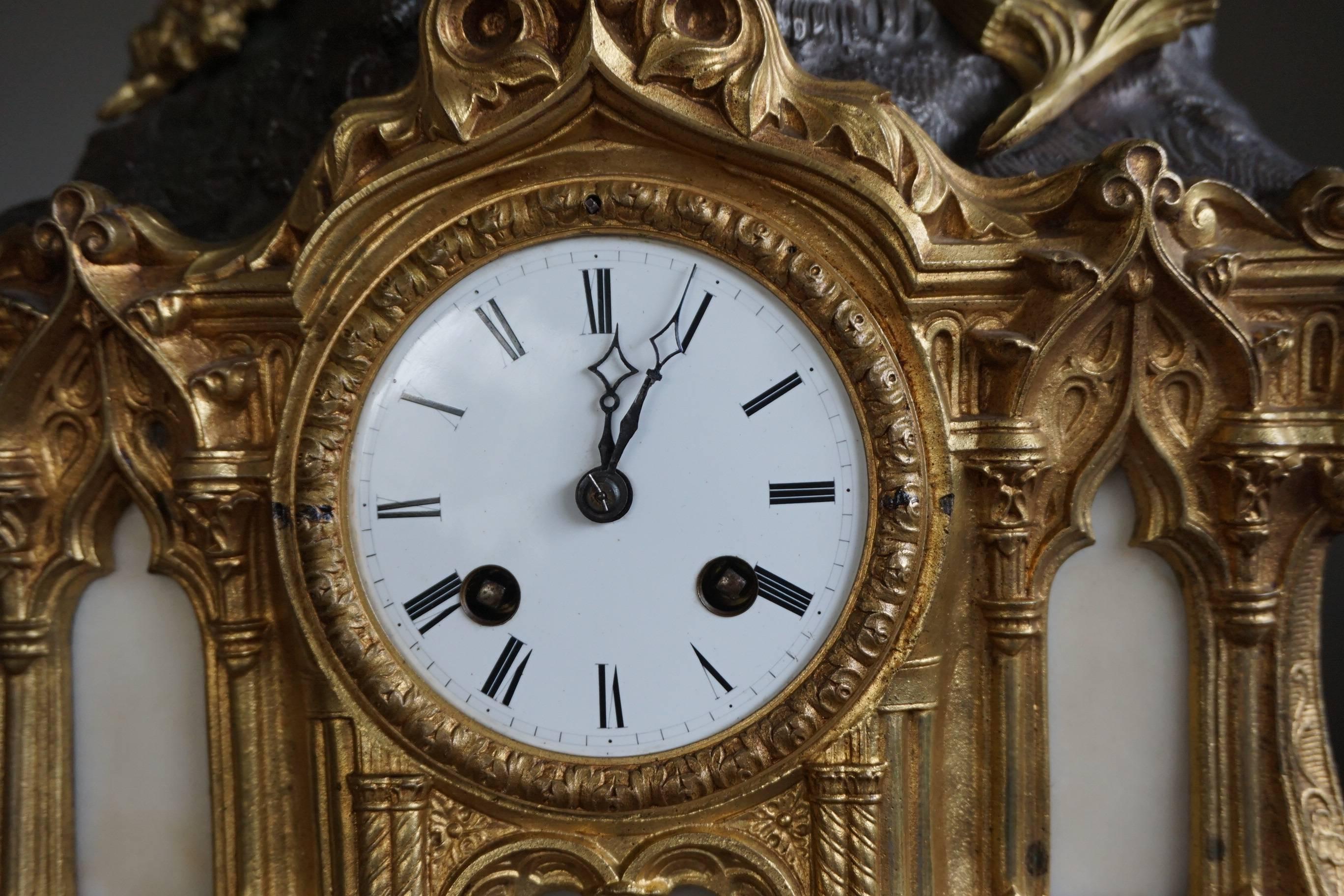 Gilt Bronze Gothic Rev. Heaven and Earth Mantel Clock w. Guardian ...