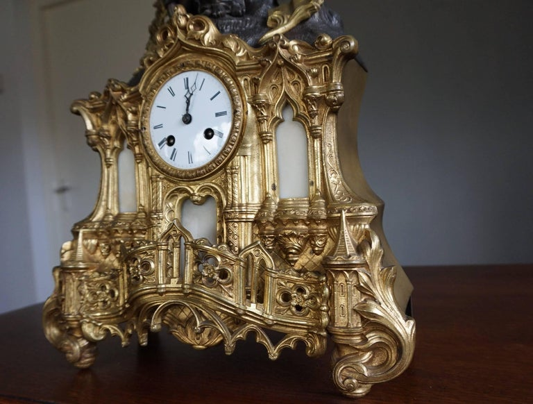 Gilt Bronze Gothic Rev. Heaven & Earth Mantel Clock w. Guardian Angel Sculpture For Sale 3