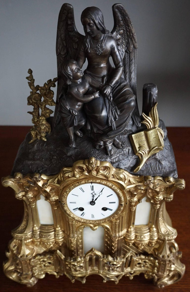 Gilt Bronze Gothic Rev. Heaven & Earth Mantel Clock w. Guardian Angel Sculpture For Sale 4