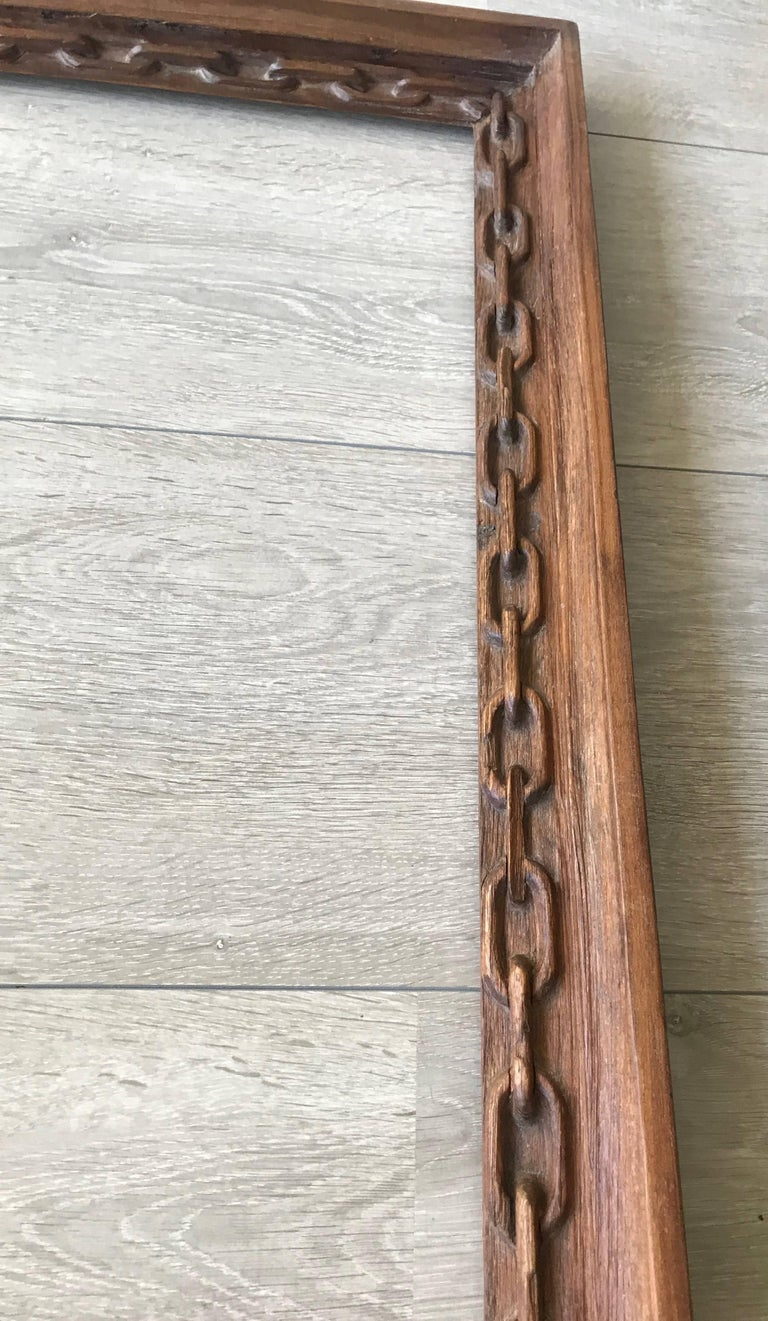 Rare Arts and Crafts Carved Chain Motif Picture or Mirror Frame of Teak Wood For Sale 1