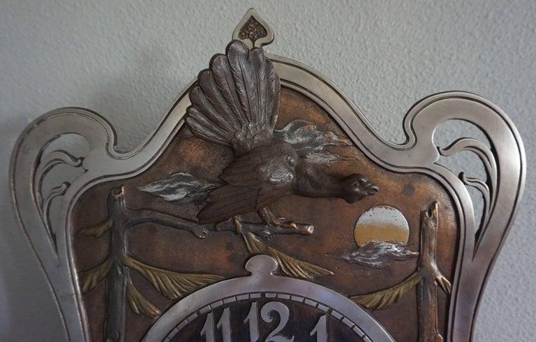 Brass Antique Jugendstil Hunting Clock with Bronze Dog and Capercaillie Bird Sculpture For Sale
