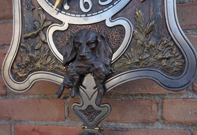 Hand-Crafted Antique Jugendstil Hunting Clock with Bronze Dog and Capercaillie Bird Sculpture For Sale