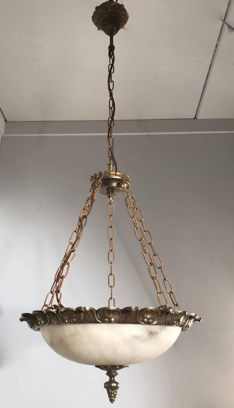 French Small Size Art Deco Alabaster Pendant with Bronze Frame on Chains & Brass Canopy For Sale