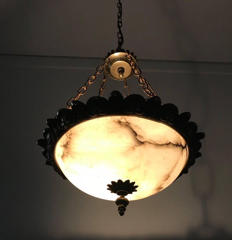 Small Size Art Deco Alabaster Pendant with Bronze Frame on Chains & Brass Canopy For Sale 1