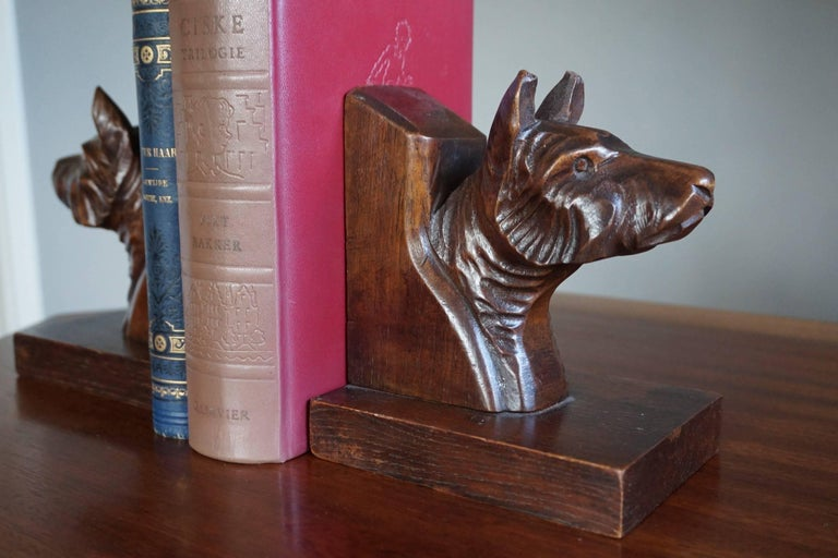 Beautifully carved dog busts bookends.  There can be two reasons why we don't know which breed of dogs these quality carved bookends represent. The first one is that we simply lack the knowledge. The second one is that, because many dog breeds have