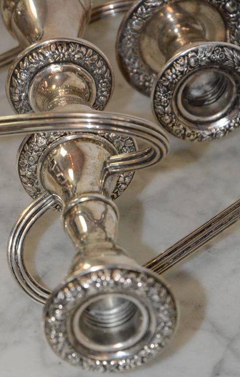 Polished S. Kirk & Sons Sterling Silver Candelabras For Sale