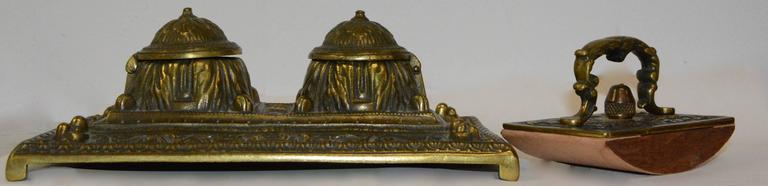British Victorian Bronze English Inkwell Set with Rocking Blotter For Sale