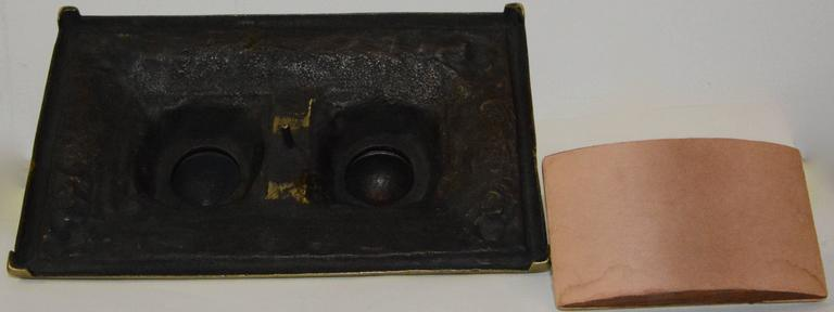 Cast Victorian Bronze English Inkwell Set with Rocking Blotter For Sale