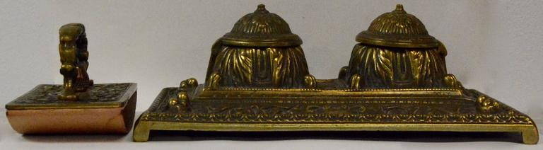 Victorian Bronze English Inkwell Set with Rocking Blotter In Fair Condition For Sale In Cookeville, TN