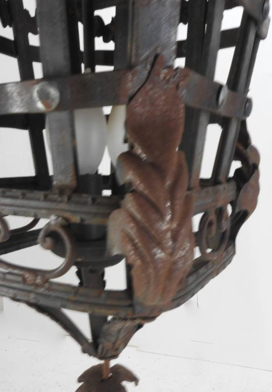 20th Century Spanish Cast Iron Light Fixture For Sale 2