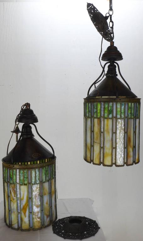 Arts and Crafts  I. P. Frink Stained Glass Hanging Light Fixtures For Sale