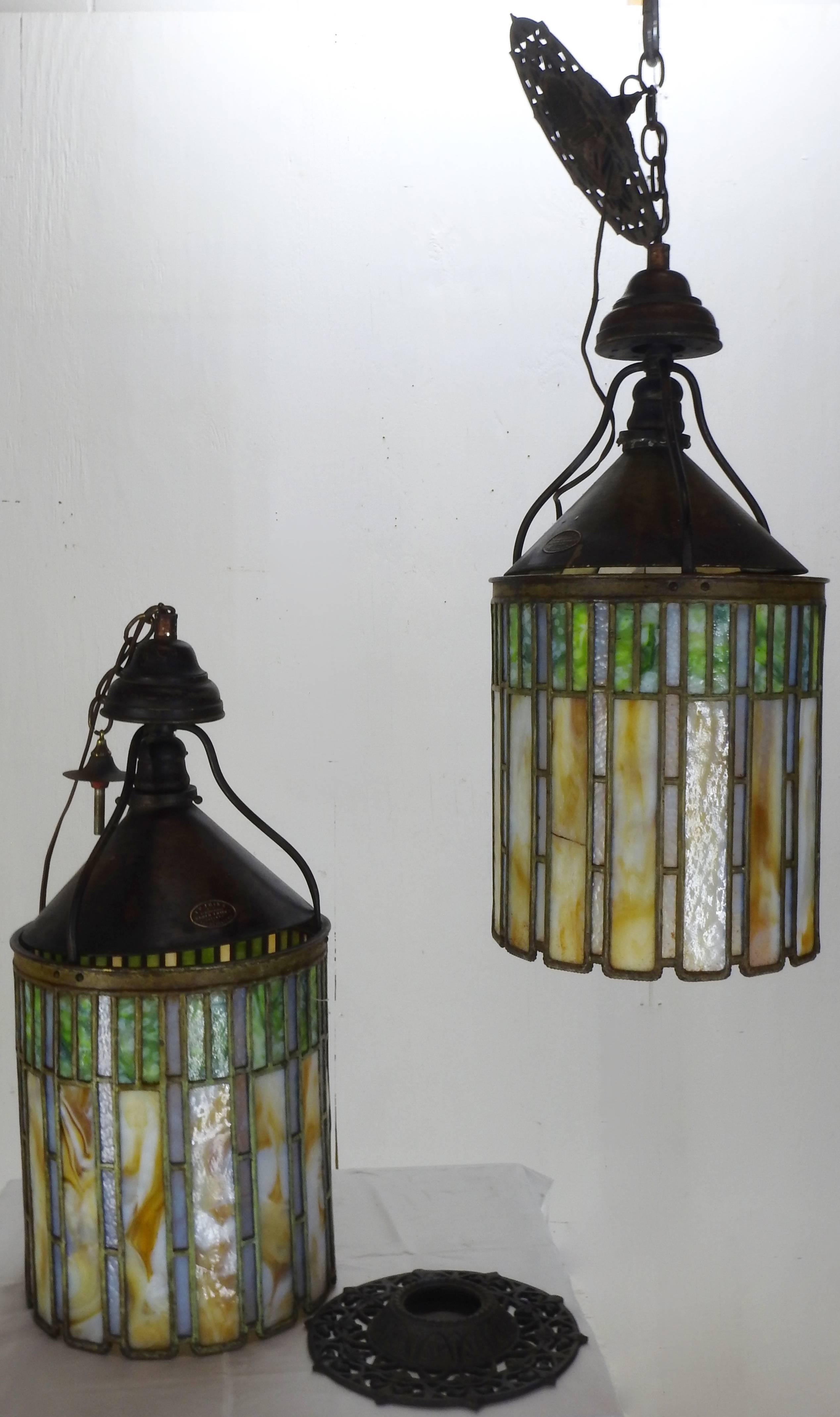 I p frink stained glass hanging light fixtures for sale at 1stdibs