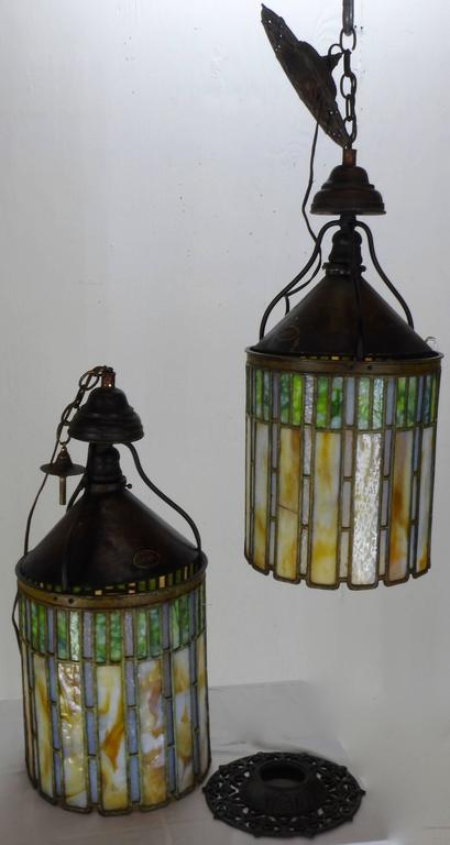 I. P. Frink Stained Glass Hanging Light Fixtures In Good Condition For Sale In Cookeville, TN