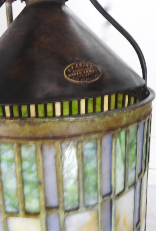 20th Century  I. P. Frink Stained Glass Hanging Light Fixtures For Sale
