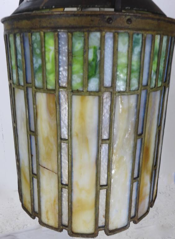 Bronze  I. P. Frink Stained Glass Hanging Light Fixtures For Sale