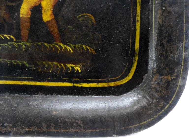 Hand-Painted 1800s New England Tableware Tray with Hunt Scene For Sale