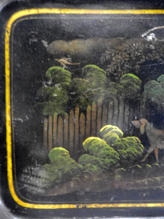 Metal 1800s New England Tableware Tray with Hunt Scene For Sale