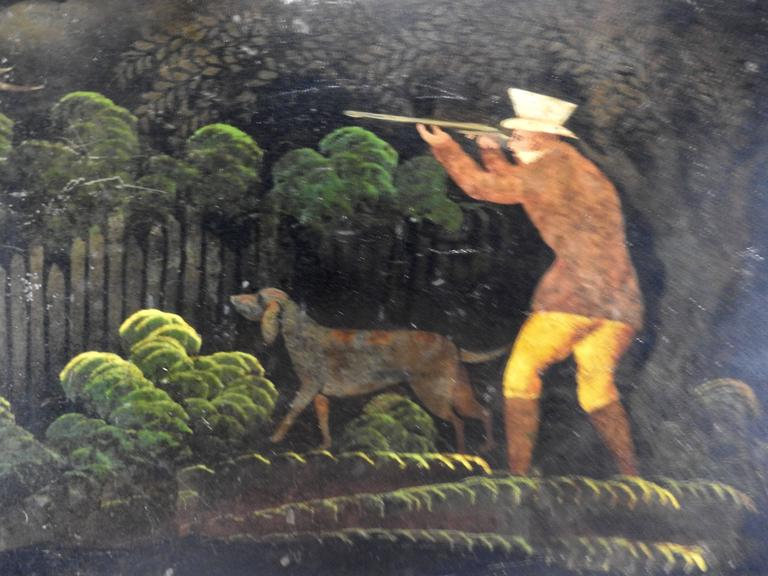 1800s New England Tableware Tray with Hunt Scene For Sale 1