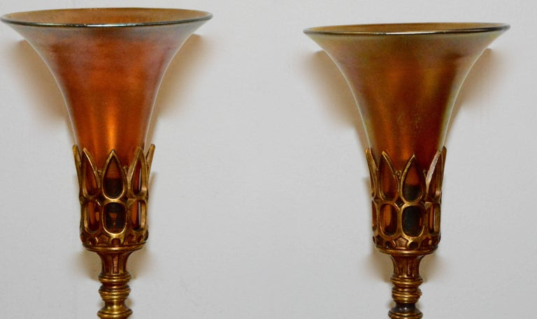 American Art Deco Bronze Lamps with Iridescent Shades For Sale