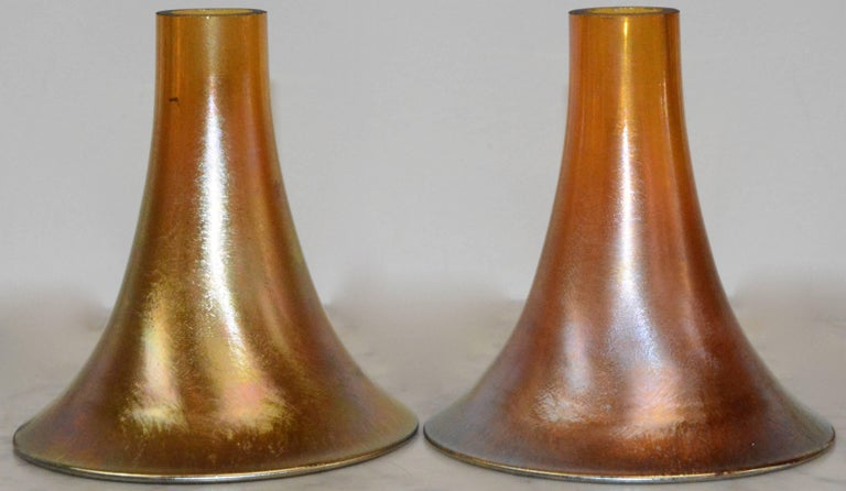 20th Century Art Deco Bronze Lamps with Iridescent Shades For Sale