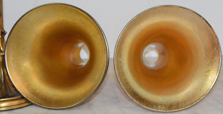Art Deco Bronze Lamps with Iridescent Shades For Sale 2
