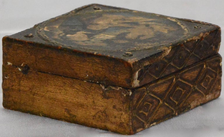 Arts and Crafts Florentine Box with Madonna and Child For Sale