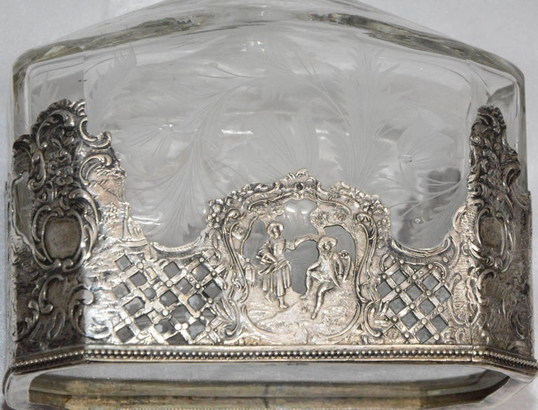 19th Century Silver and Engraved Crystal Decanter and Cordial Cups For Sale