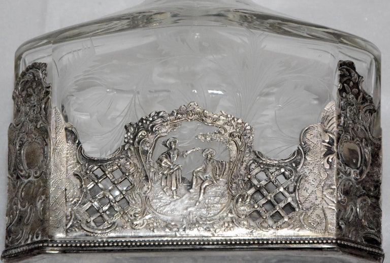 Sterling Silver and Engraved Crystal Decanter with Cordial Cups For Sale 1