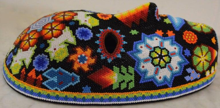 Mexican Huichol Hand Beaded Folk Art Mask Peyote Blossom 3