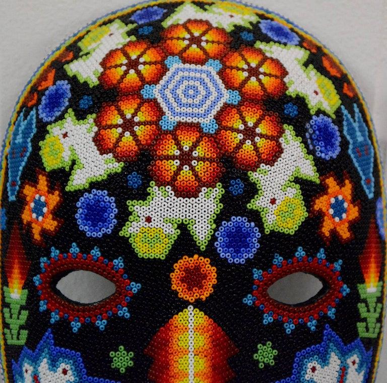 Mexican Huichol Hand Beaded Folk Art Mask Peyote Blossom 5