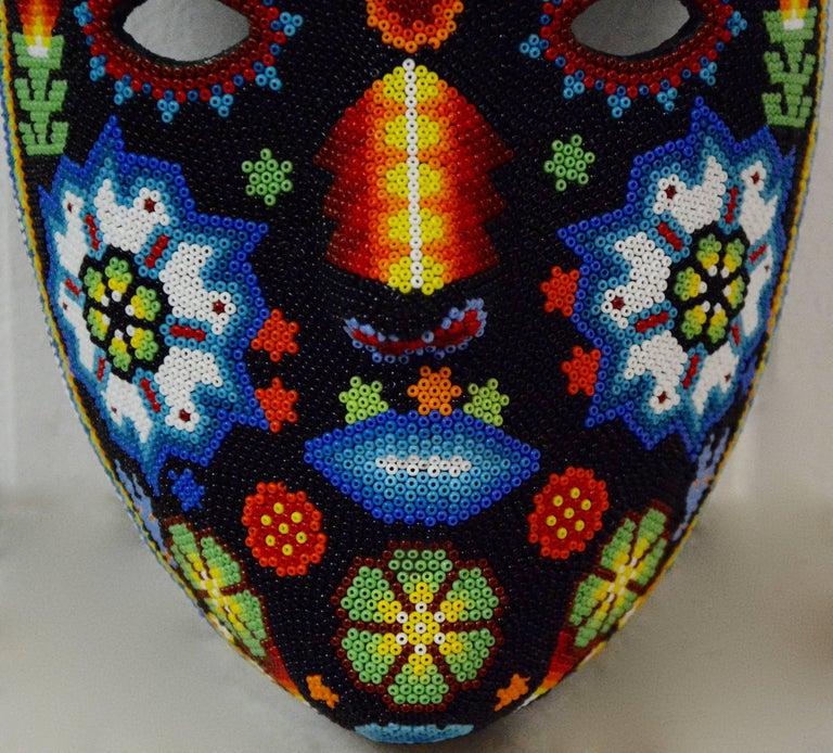 Mexican Huichol Hand Beaded Folk Art Mask Peyote Blossom 6
