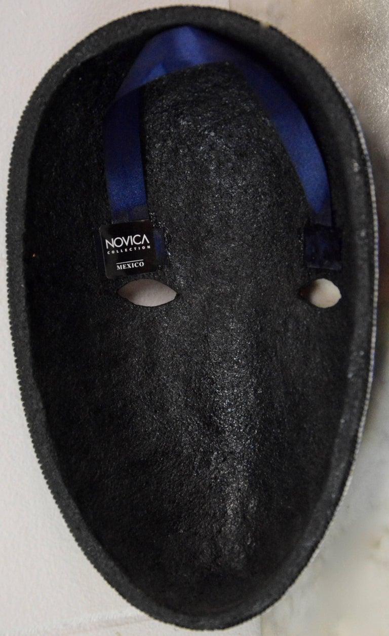 Mexican Huichol Hand Beaded Folk Art Mask Peyote Blossom For Sale 3