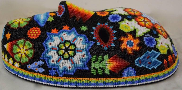 Mexican Huichol Hand Beaded Folk Art Mask Peyote Blossom 7