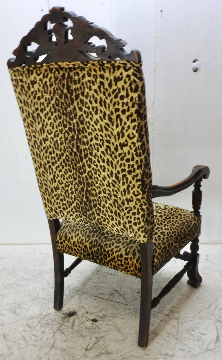 High back antique chairs - 19th Century German Hand Carved High Back Chair With Leopard Print Upholstery 2