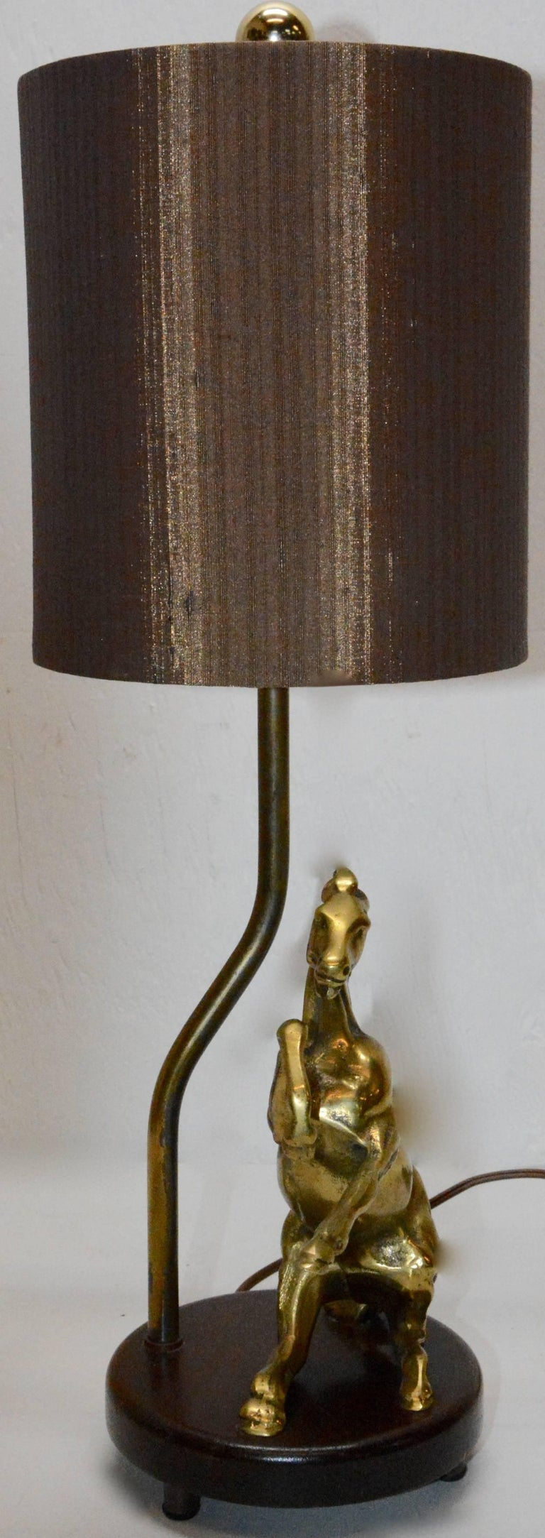 American Vintage Solid Brass Horse Lamp with Shade For Sale