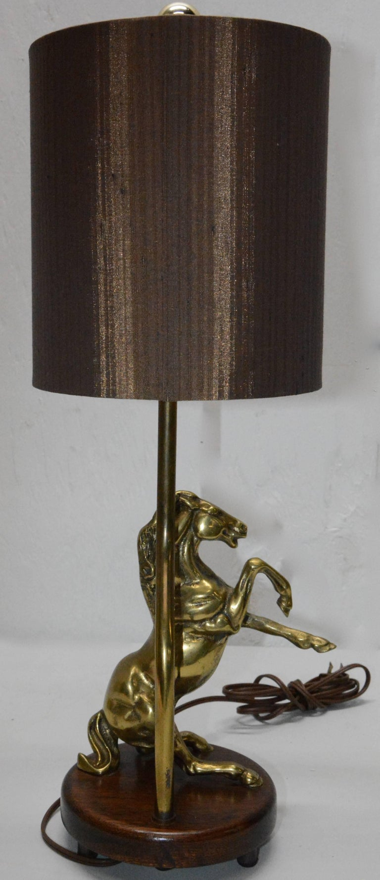 Vintage Solid Brass Horse Lamp With Shade For Sale At 1stdibs