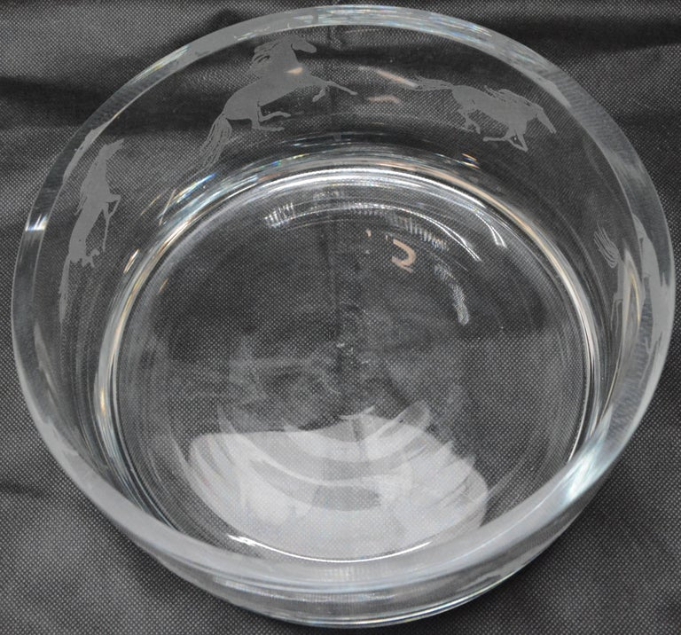 Arts and Crafts Etched Horses on a Clear Glass Serving Bowl For Sale