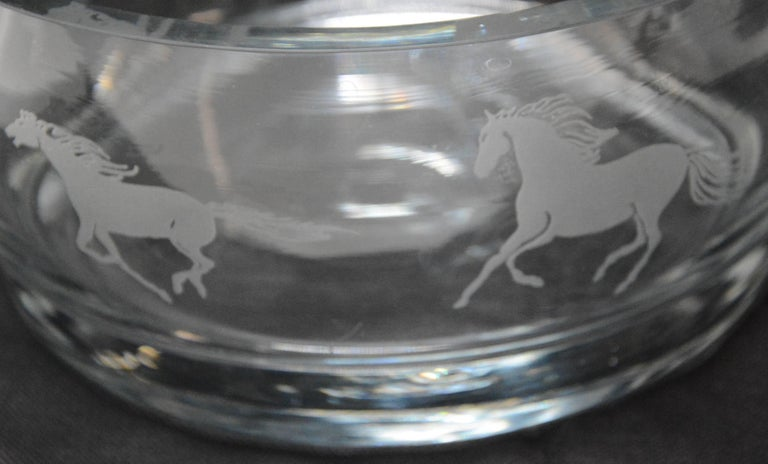 American Etched Horses on a Clear Glass Serving Bowl For Sale