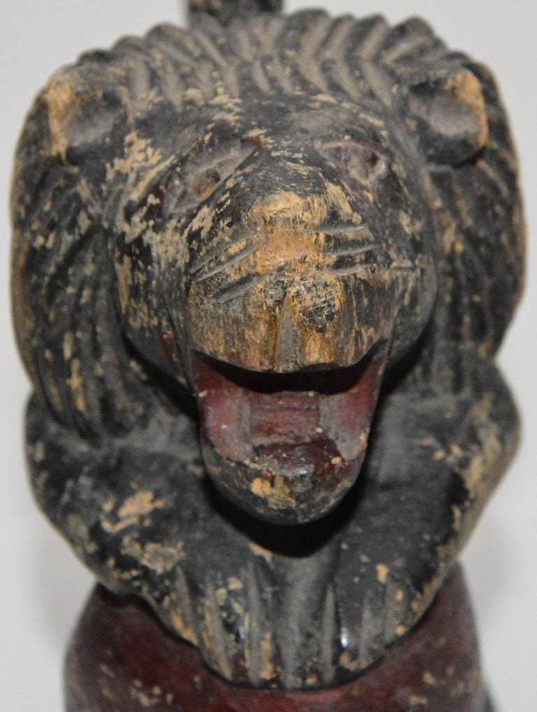 Polychrome Wooden Lion on Red Ball Carving, 19th Century For Sale 1