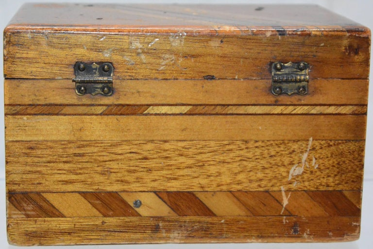 Folk Art Small Wooden Inlaid Box with Key For Sale