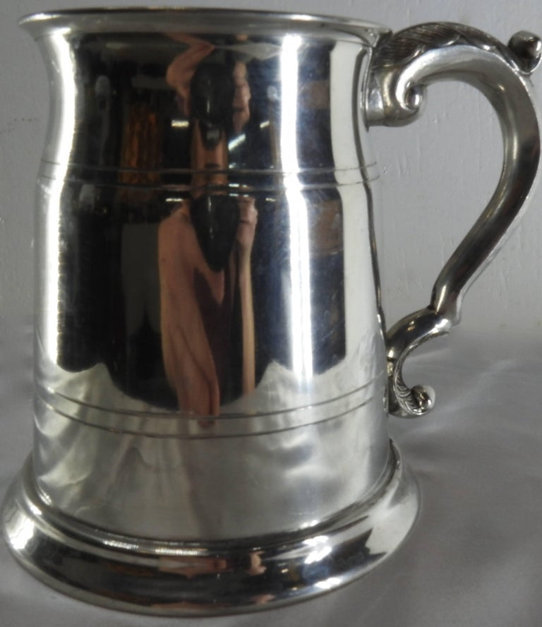 Late 20th Century Sheffield England Classic Engraved Pewter Tankard For Sale