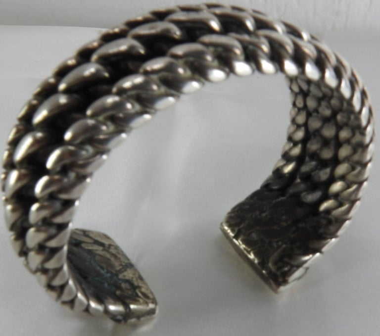 20th Century Vintage Braided Sterling Silver Cuff Bracelet For Sale