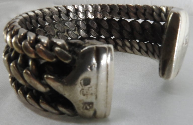 American Vintage Braided Sterling Silver Cuff Bracelet For Sale